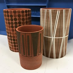 We love @MsChrisoula vessels using #laseretching #lasercutting on our @epiloglaser #terracotta #vessels #ceramics #art