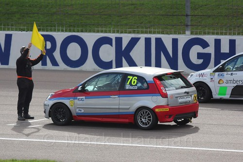 Carlito Miracco in Race 2 at the BRSCC Fiesta Junior Championship, Rockingham, Sept 2015