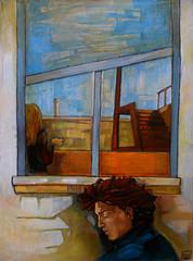La tenda maledetta non si abbassa, olio su tavola, 50×70, 2005