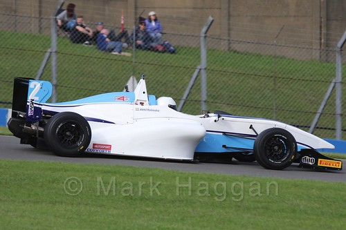 Douglas Motorsport's Akhil Rabindra in BRDC F4 Race 3 at Donington Park, September 2015