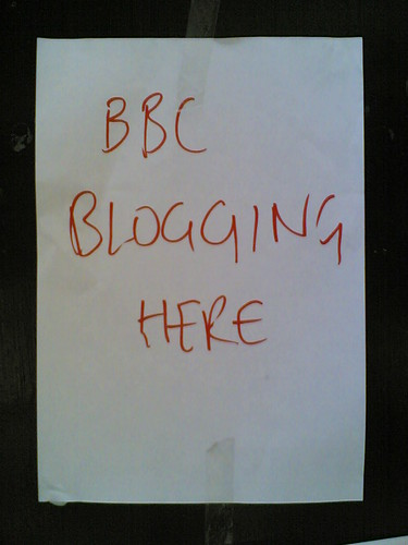 A picture of a BBC Blogging Event sign