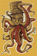 Octopus in flower, biro, china, pastello, gouache, 2014