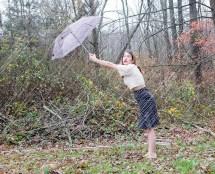 Girls Rain Barefoot