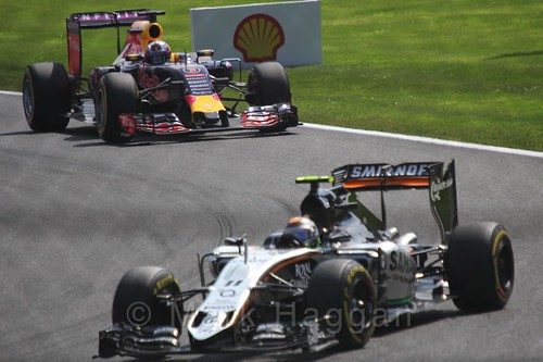 Sergio Perez leads Daniel Ricciardo in the 2015 Belgium Grand Prix