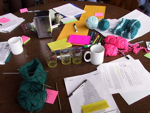 A table of knitting and crochet