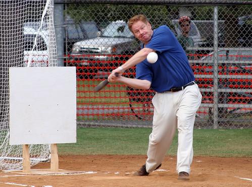 A man playing whiffleball.  Photo by Aaron Webb.