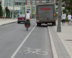 Vehicle parked in bicycle lane