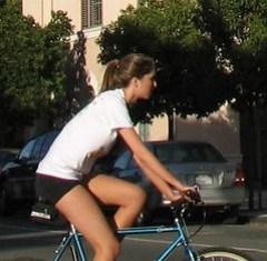 Wrong way sidewalk cyclist in Palo Alto
