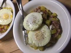 Poached eggs on potato hash with bacon #naturallyglutenfree #glutenfree #breakfastfordinner