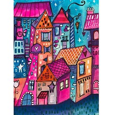 Having felt inspired by drawing/ painting landscape/ cityscape in Scotland recently I wanted to do some more! However this is a series of made up whimsical houses! Houses feature a lot in my work but they are rarely the focus. Might be time to bring them