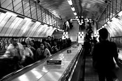 crowded escalator
