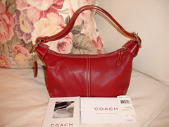 Red Leather Coach Handbag, Small