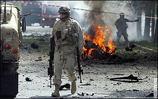 A US soldier in Kabul, Afghanistan