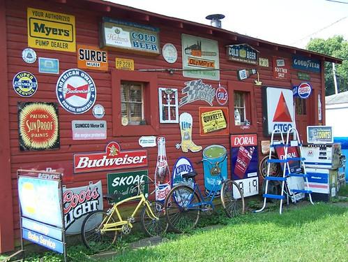 Old tins signs on garage