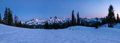 Last light on the Tatoosh range from camp.