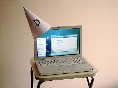 computer with a dunce cap