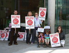 Picket line at BBC Norwich by Leo Reynolds CC Flickr