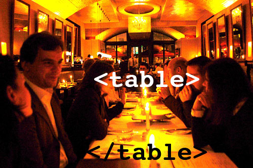 dinner table in html
