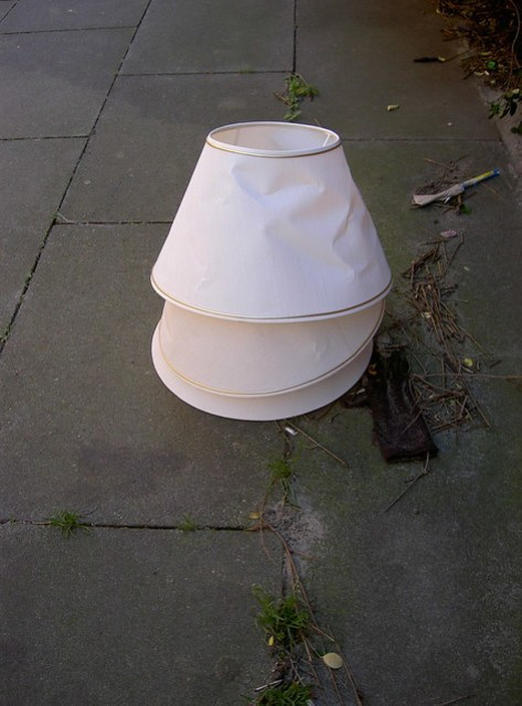 Three lampshades and a glove