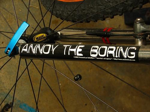 My bike's fork and sticker