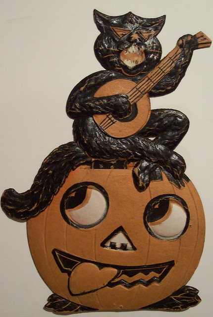 Vintage German Halloween Diecut Cat On Jack O Lantern With