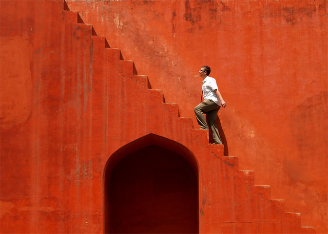 Red Stairs - Jantar Mantar - Street Photography and The Art of Composition
