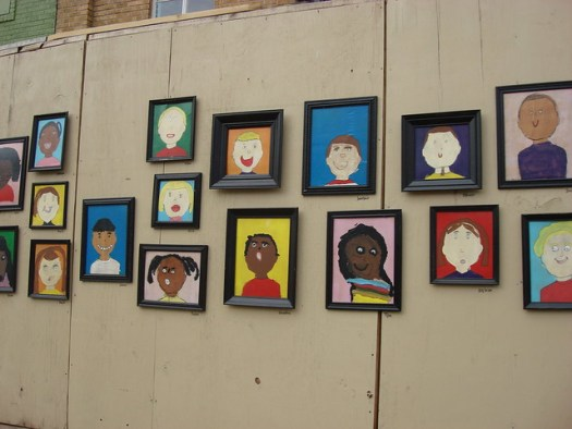 Delta Arts Alliance: Kids' Portraits in Front of Ellis Theatre Renovation, Cleveland MS