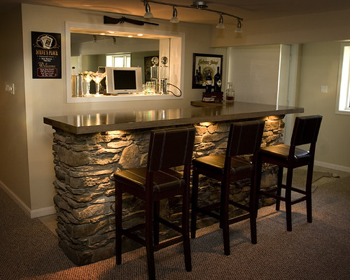 cheap kitchen cabinet sets commercial ventilation basement bar | with built-in lighting, stone cover by ...