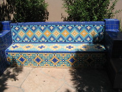 Spanish Moorish tiled bench