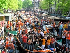 Crowded canals of Amsterdam