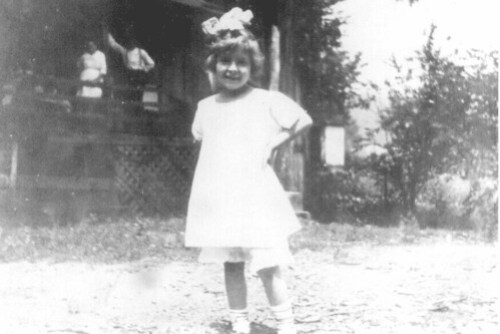 Margaret Schroyer on Plummer's Hollow tenant house lawn, 1919.