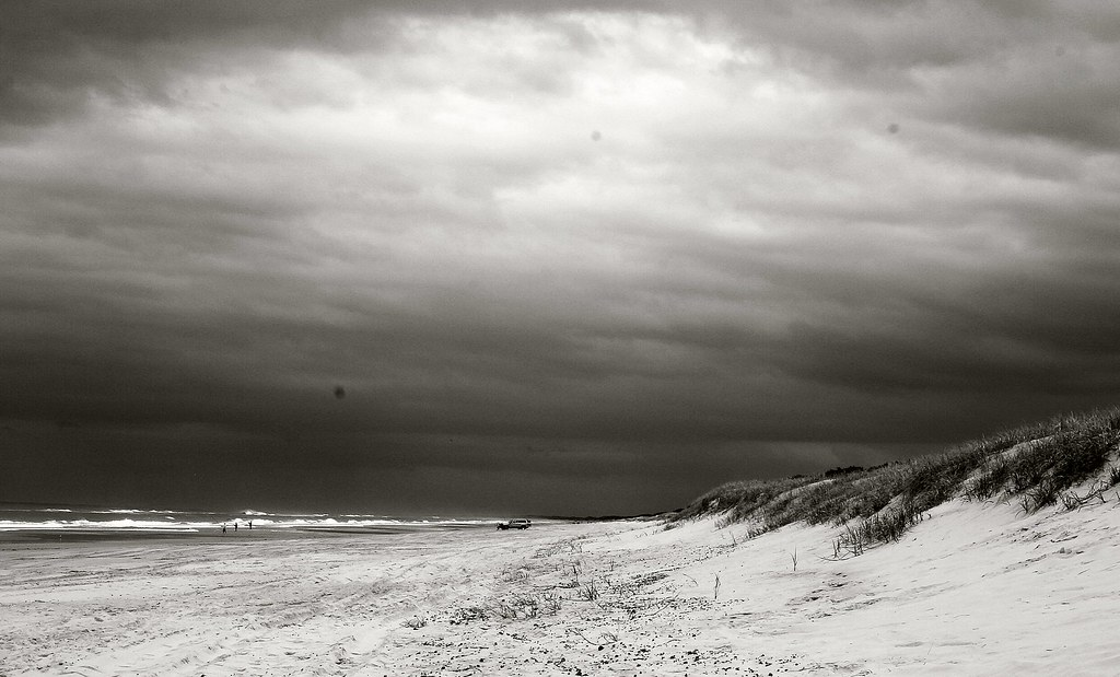 black and white beach