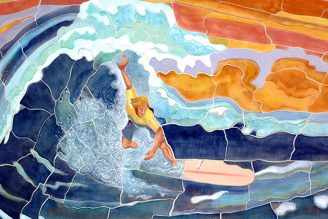 surfing mural