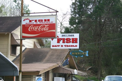 Bait & Tackle Shop in Wetumpka, AL - love the little minnow sign