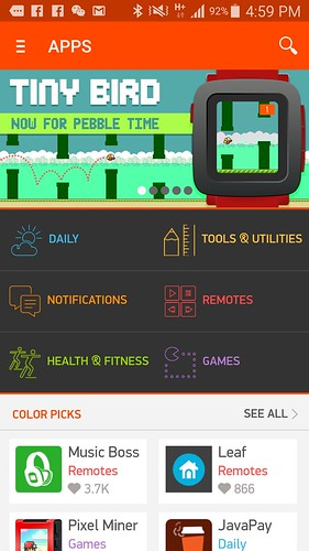 App store ของ Pebble Time บน Android