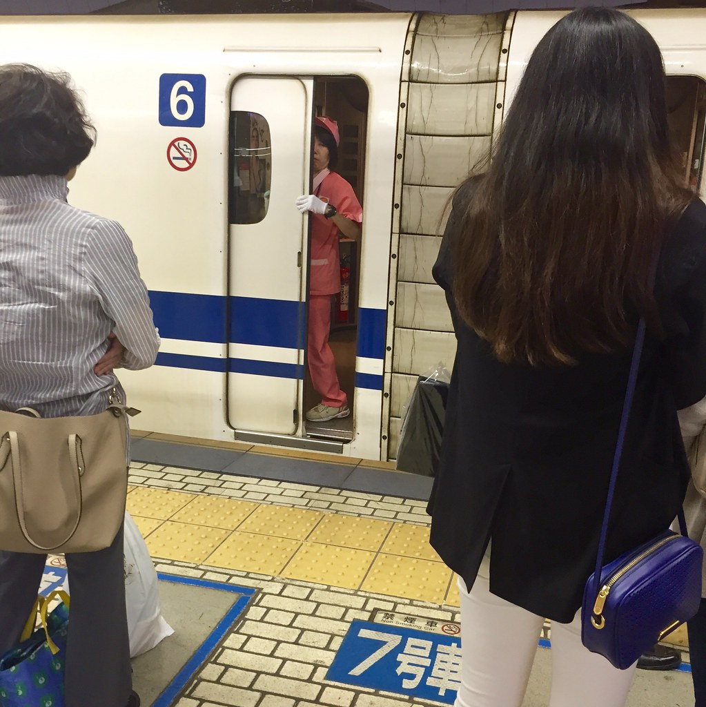 Door closed for further cleaning in the Shinkansen bullet train