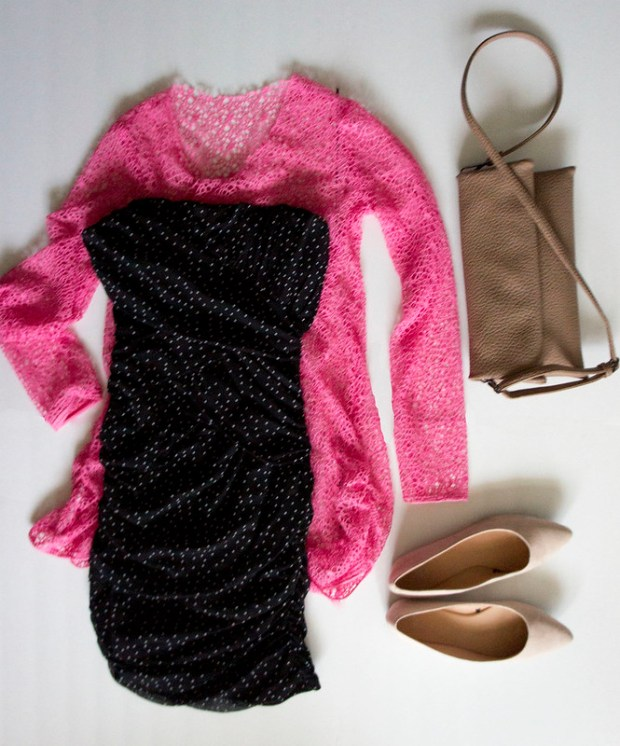 LBD and Pink Sweater Dress Outfit