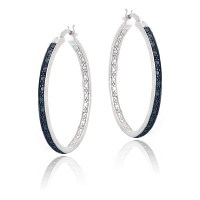 Blue Diamond Accent 30mm Round Hoop Earrings in Brass | eBay