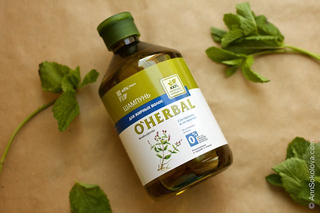 02 O'Herbal ElfaPharm 100% natural Шампунь для жирных волос c мятой перечной