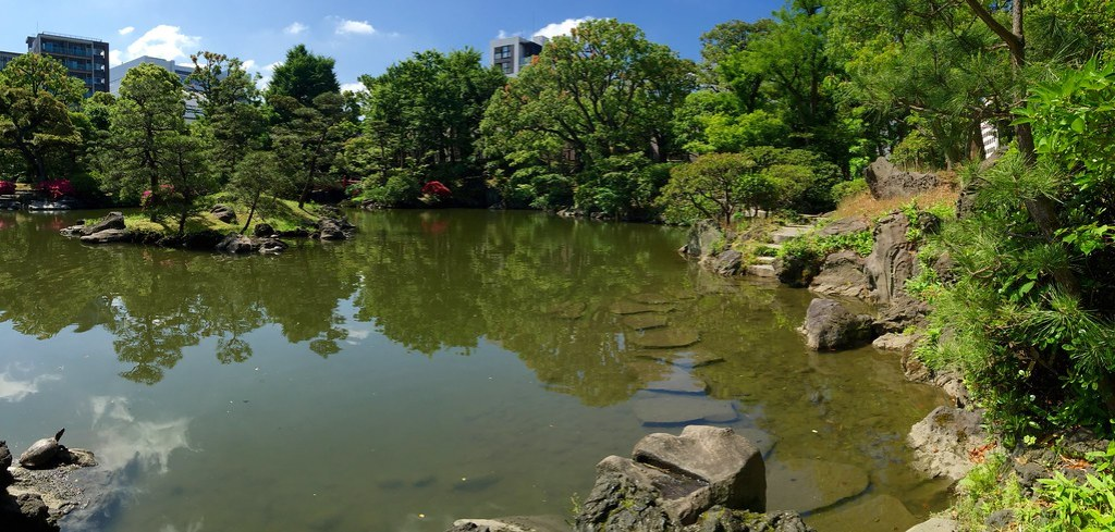 Panoramic view of the landscaping at the Old Yasuda Garden