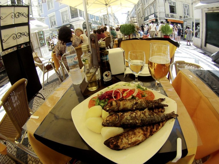 Sardines for Lunch in Lisbon, Portugal.