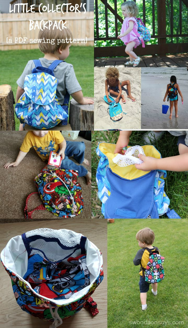 Little Collector's Backpack - use this PDF sewing pattern to sew a kid's backpack. It has adjustable straps, easy to open closures, and a mesh bottom so all the dirt and sand stays on the ground!
