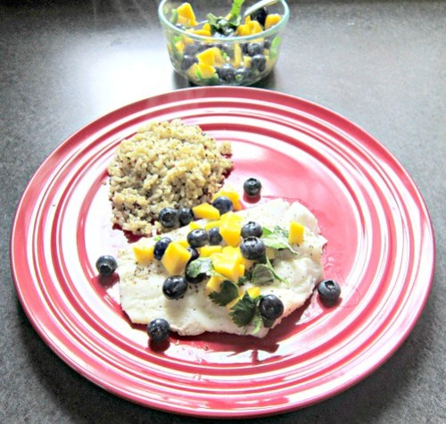 Cod with Blueberry-Mango Salsa