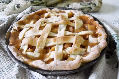 Peach and lavender pie