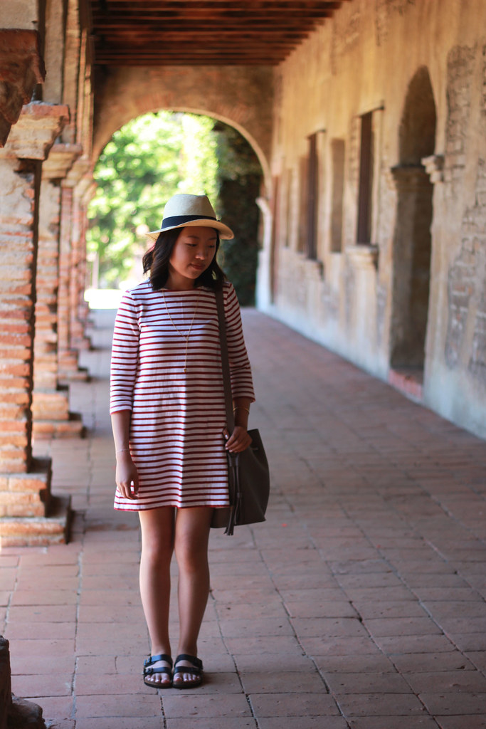 Striped shift dress sleeves