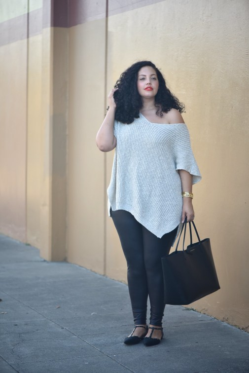 Oversize Sweater, Faux Leather Leggings, Studded Flats