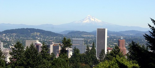 Picture Postcard View of Mount Hood over Portland