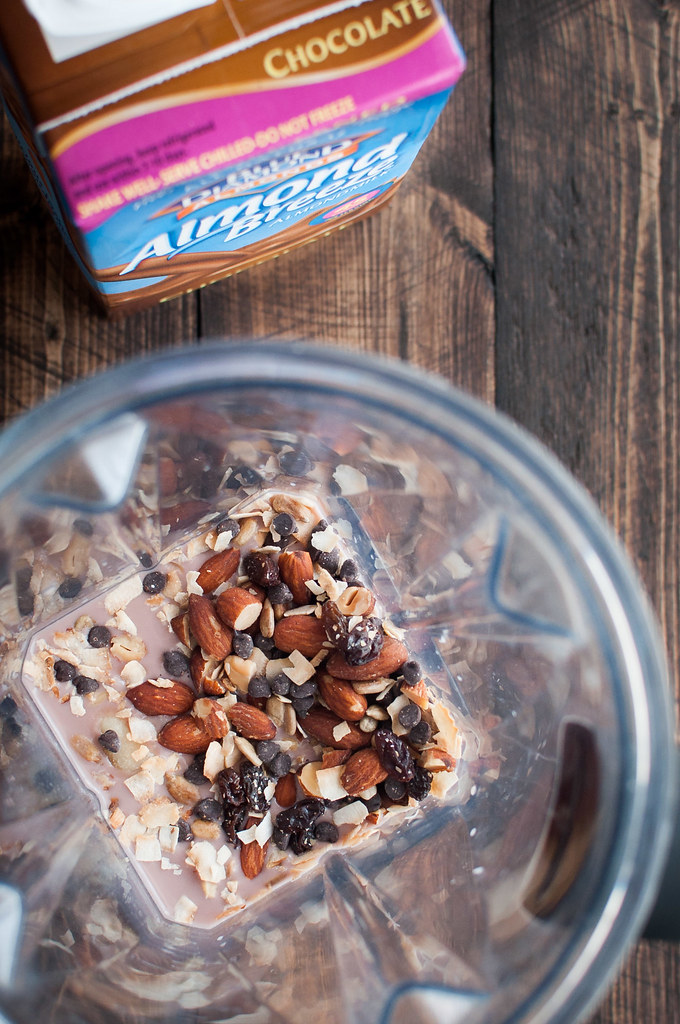An icy cold trail mix chocolate breakfast smoothie for hot summer mornings (3-ingredient vegan recipe)