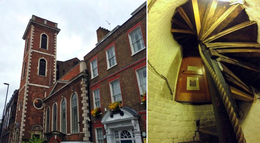 Torre de la iglesia de Santo Tomás donde se encuentra el antiguo quirófano y escaleras de caracol que conducen a la misteriosa puerta de entrada El antiguo quirófano escondido de Londres El antiguo quirófano escondido de Londres 19848664953 dc6e465b52 o
