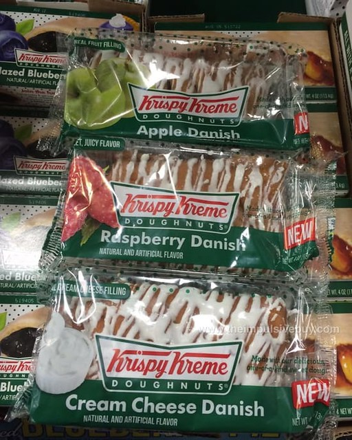 Krispy Kreme Apple Danish, Raspberry Danish, and Cream Cheese Danish